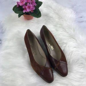 Salvatore Ferragamo brown suede and leather heels